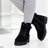 Повседневные замшевые черные женские зимние ботинки на низком ходу, фото 3