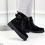 Повседневные замшевые черные женские зимние ботинки на низком ходу, фото 4