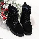 Повседневные замшевые черные женские зимние ботинки на низком ходу, фото 5