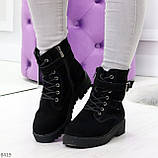 Повседневные замшевые черные женские зимние ботинки на низком ходу, фото 6