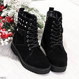 Повседневные замшевые черные женские зимние ботинки на низком ходу, фото 7