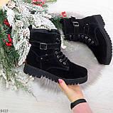 Повседневные замшевые черные женские зимние ботинки на низком ходу, фото 9
