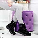 Повседневные замшевые черные женские зимние ботинки на низком ходу, фото 10