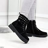 Черные замшевые практичные женские зимние ботинки замша низкий ход 41-26,5см, фото 2