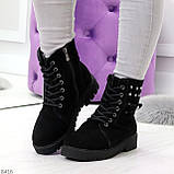 Черные замшевые практичные женские зимние ботинки замша низкий ход 41-26,5см, фото 4