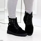 Черные замшевые практичные женские зимние ботинки замша низкий ход 41-26,5см, фото 5