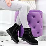 Черные замшевые практичные женские зимние ботинки замша низкий ход 41-26,5см, фото 6