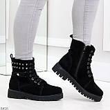Черные замшевые практичные женские зимние ботинки замша низкий ход 41-26,5см, фото 8