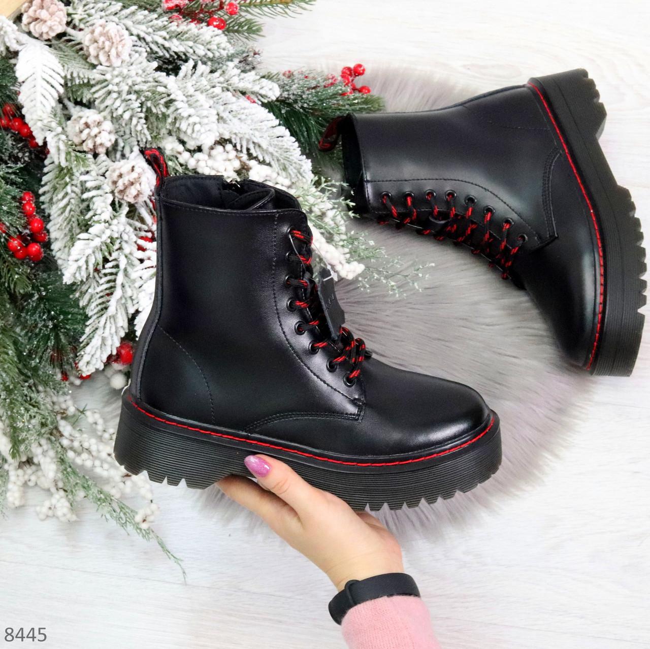 Стильные теплые черные женские зимние ботинки натуральная кожа с декором