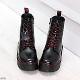 Стильные теплые черные женские зимние ботинки натуральная кожа с декором, фото 2
