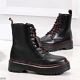 Стильные теплые черные женские зимние ботинки натуральная кожа с декором, фото 3