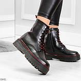 Стильные теплые черные женские зимние ботинки натуральная кожа с декором, фото 4