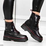 Стильные теплые черные женские зимние ботинки натуральная кожа с декором, фото 5