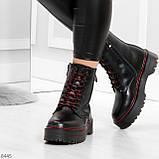 Стильные теплые черные женские зимние ботинки натуральная кожа с декором, фото 8