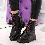 Стильные теплые черные женские зимние ботинки натуральная кожа с декором, фото 9