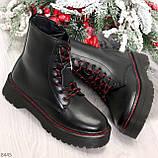 Стильные теплые черные женские зимние ботинки натуральная кожа с декором, фото 10
