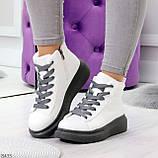 Крутые белые женские кроссовки кеды криперы на серой шнуровке, фото 2