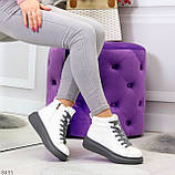 Крутые белые женские кроссовки кеды криперы на серой шнуровке, фото 3