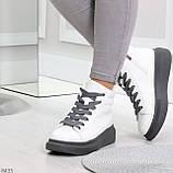 Крутые белые женские кроссовки кеды криперы на серой шнуровке, фото 4