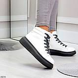 Крутые белые женские кроссовки кеды криперы на серой шнуровке, фото 5