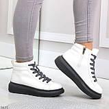 Крутые белые женские кроссовки кеды криперы на серой шнуровке, фото 6