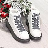 Крутые белые женские кроссовки кеды криперы на серой шнуровке, фото 7