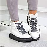 Крутые белые женские кроссовки кеды криперы на серой шнуровке, фото 8
