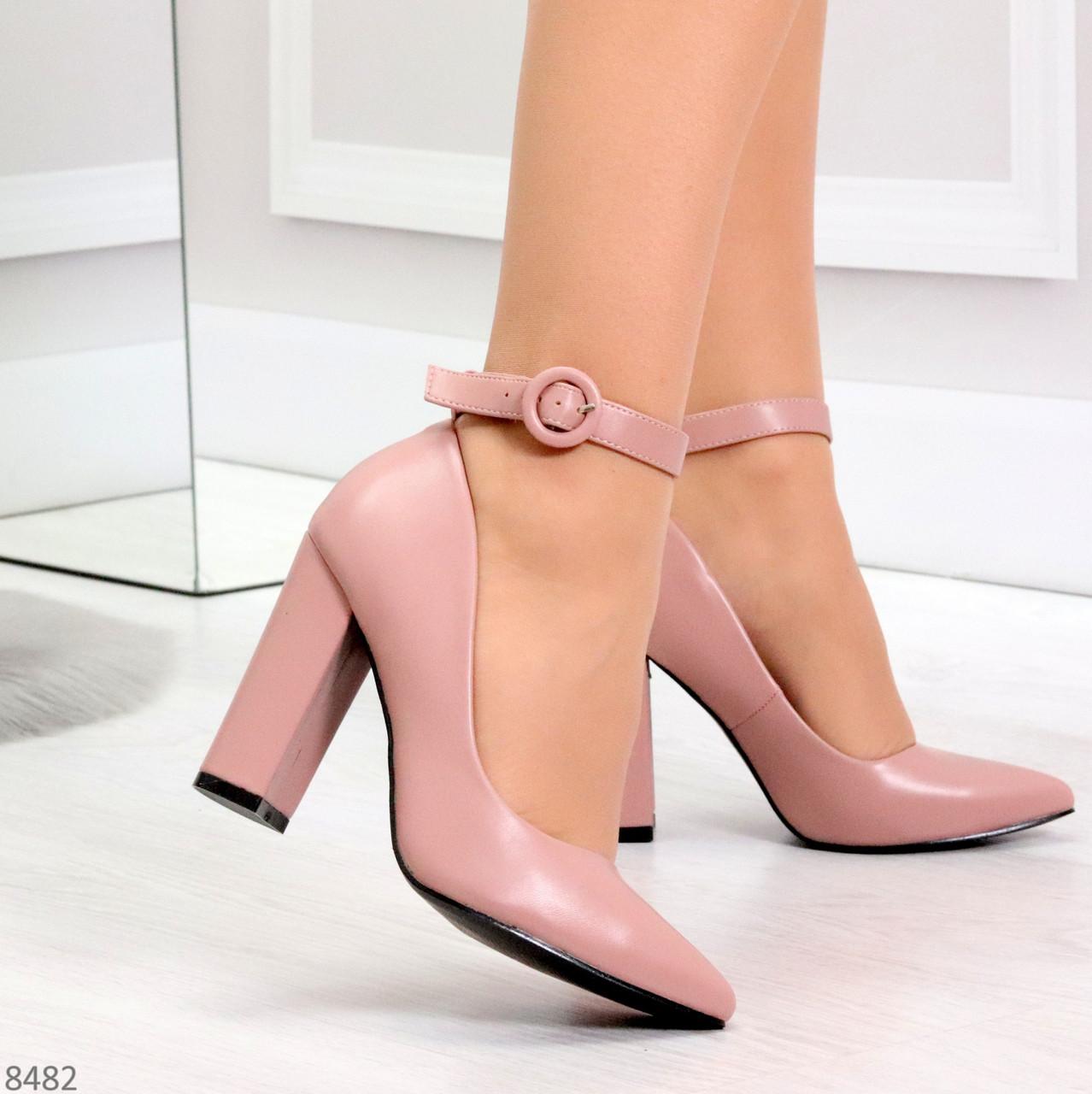 Эффектные нарядные нюдовые розовые туфли на каблуке