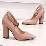 Эффектные нарядные нюдовые розовые туфли на каблуке, фото 2