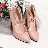 Эффектные нарядные нюдовые розовые туфли на каблуке, фото 5