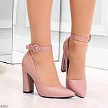 Эффектные нарядные нюдовые розовые туфли на каблуке, фото 7