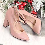 Эффектные нарядные нюдовые розовые туфли на каблуке, фото 8
