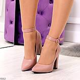 Эффектные нарядные нюдовые розовые туфли на каблуке, фото 9