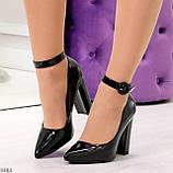Эффектные нарядные черные глянцевые туфли на каблуке, фото 8
