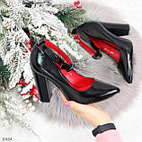 Эффектные нарядные черные глянцевые туфли на каблуке, фото 9