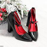Эффектные нарядные черные глянцевые туфли на каблуке, фото 10