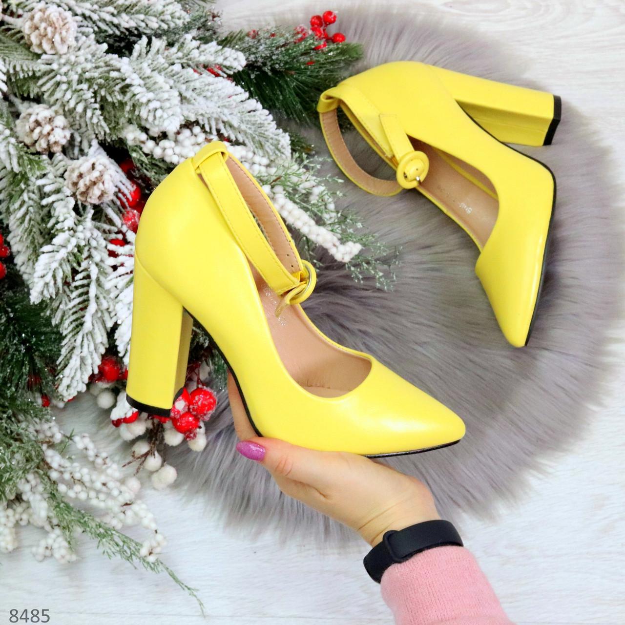 Эффектные нарядные яркие желтые лимонные туфли на каблуке