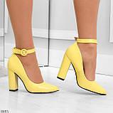 Эффектные нарядные яркие желтые лимонные туфли на каблуке, фото 4