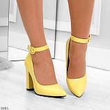Эффектные нарядные яркие желтые лимонные туфли на каблуке, фото 5
