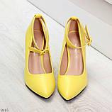 Эффектные нарядные яркие желтые лимонные туфли на каблуке, фото 6