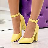 Эффектные нарядные яркие желтые лимонные туфли на каблуке, фото 7
