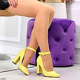 Эффектные нарядные яркие желтые лимонные туфли на каблуке, фото 9