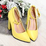 Эффектные нарядные яркие желтые лимонные туфли на каблуке, фото 10