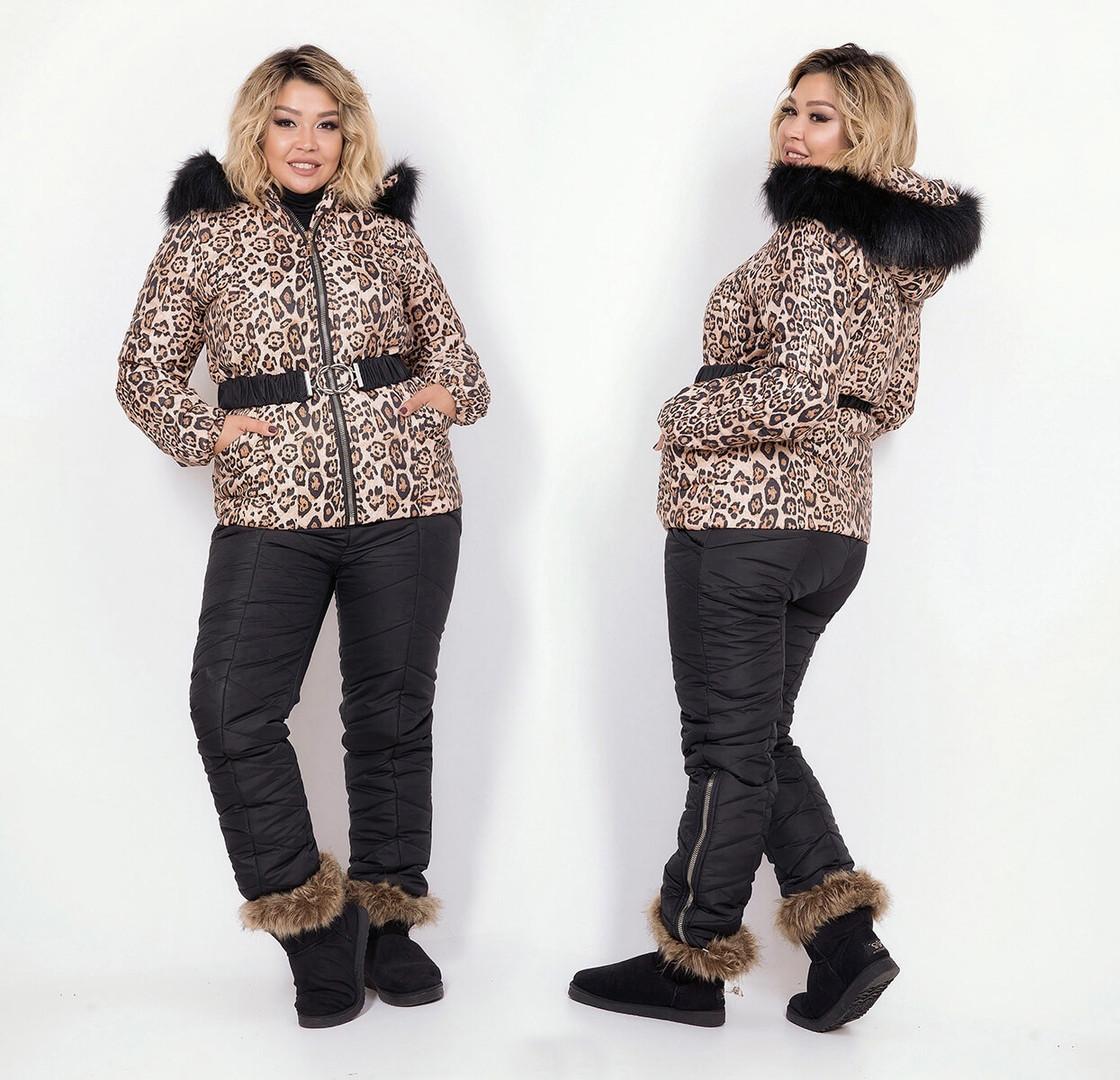 """Женский зимний стильный костюм холлофайбер в больших размерах 5237 """"Плащёвка Лео Комби Мех"""""""