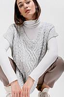 Женский вязаный жилет серый в стиле oversize с узорами спереди Arjen размер One Size (200087-OS)