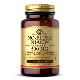 Ніацин, No-Flush Niacin Solgar, 500 мг, 50 капсул вегетаріанських