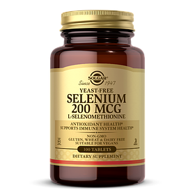 Селен, ( Селенометионин), Selenium, Yeast-Free, Solgar, 200 Мкг, 100 Таблеток