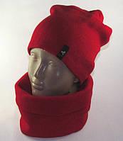 Комплект шапка и шарф-труба унисекс красный