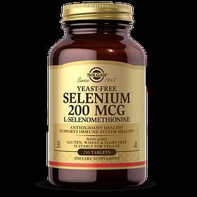 Селен ( Селенометіонін), Selenium, Yeast-Free, Solgar, 200 мкг, 250 таблеток