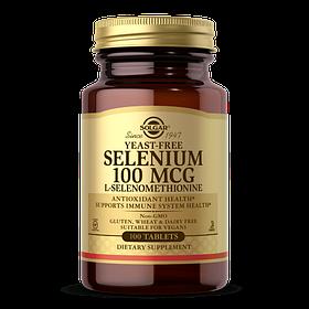 Селен, ( Селенометионин), Selenium, Yeast-Free, Solgar, 100 Мкг, 100 Таблеток